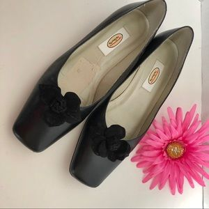 TALBOTS flats with leather floral design.
